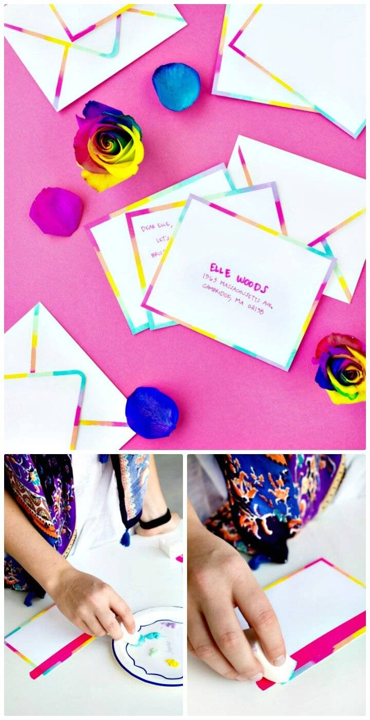 Beautiful DIY Rainbow Edge Stationery