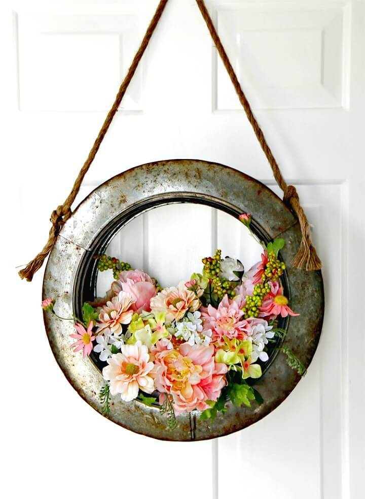 Simple How To Make Farmhouse Style Tire Wreath