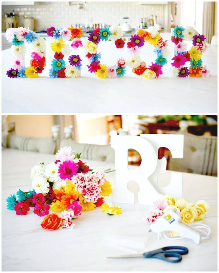 Beautiful How To DIY Floral Letters For Spring