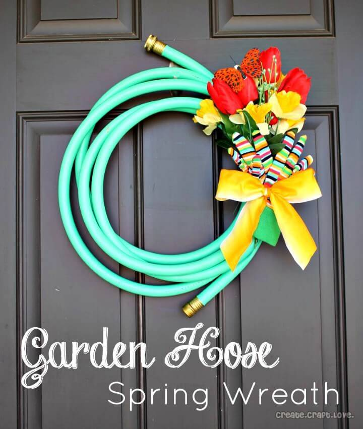 How To Make Garden Hose Spring Wreath