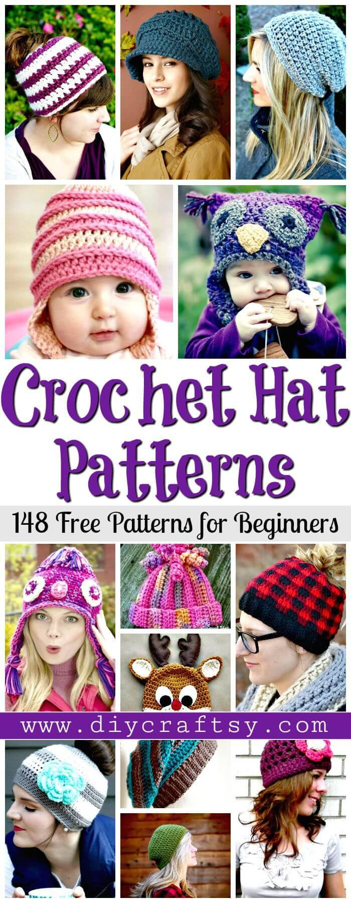 Crochet Hat Patterns – 148 Free Patterns for Beginners - Free Crochet Patterns - DIY Crafts
