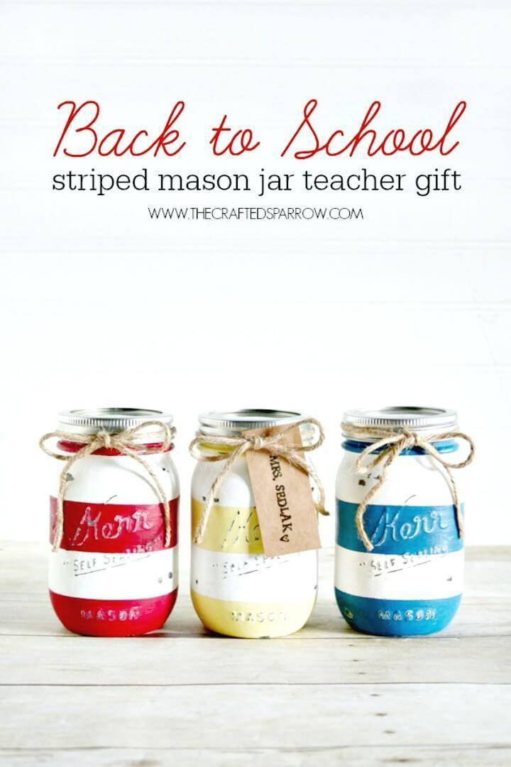DIY Back To School Striped Mason Jars
