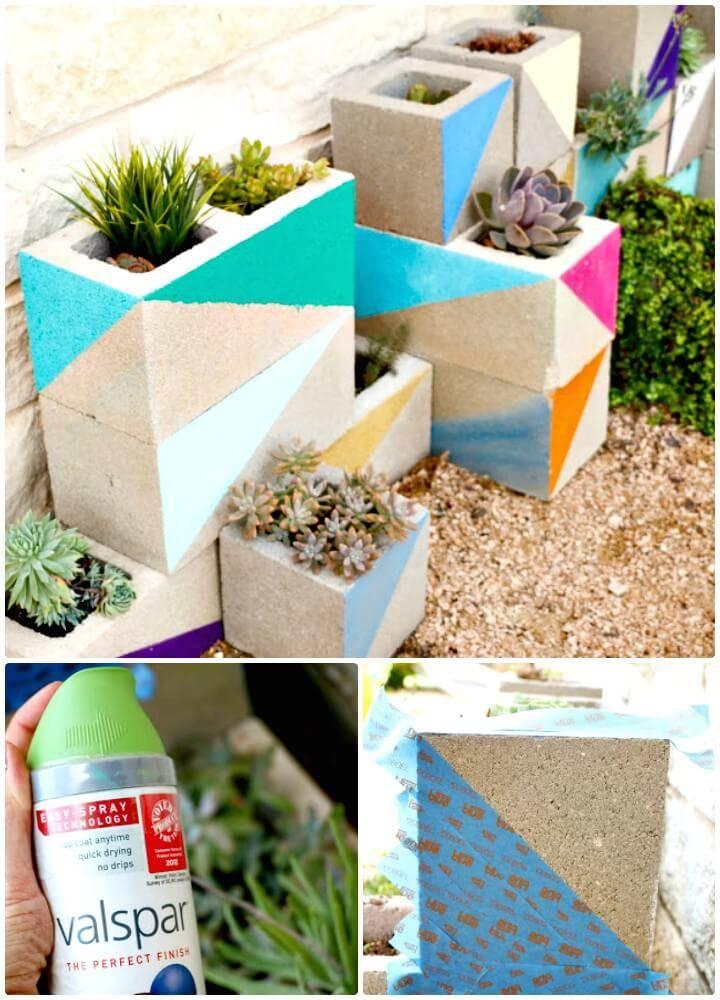 DIY Neon Cinder Block Succulent Garden