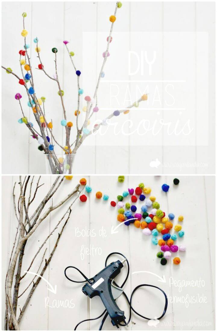 Easy DIY Spring Decorated Branches With Fieltrable Wool And Mini Garden