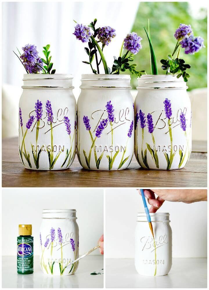 DIY Lavender Flower Painted Mason Jars