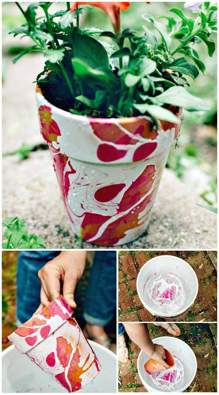 DIY Nail Polish Marbled Planters