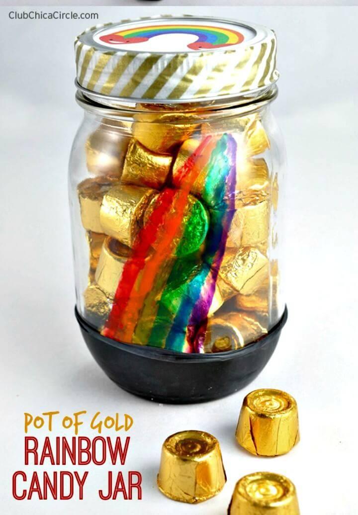 DIY Pot of Gold Rainbow Painted Candy Jar - Mason Jars Crafts