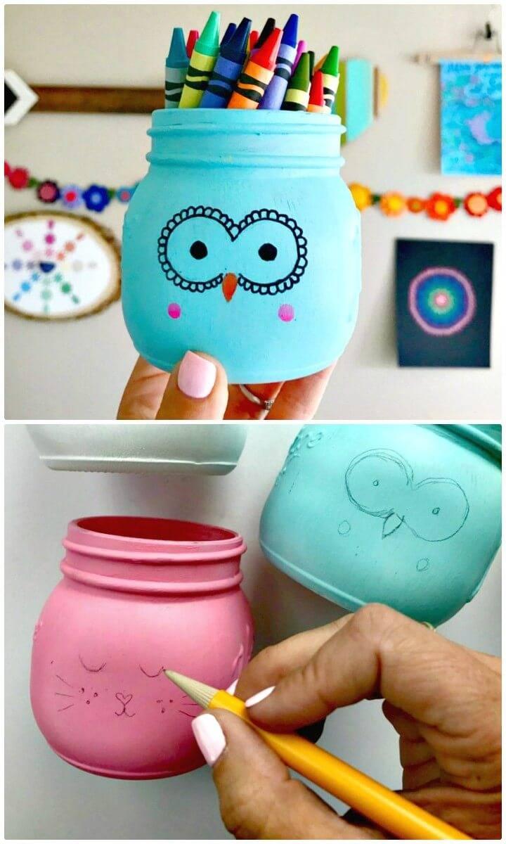 DIY Animal Painted Mason Jars