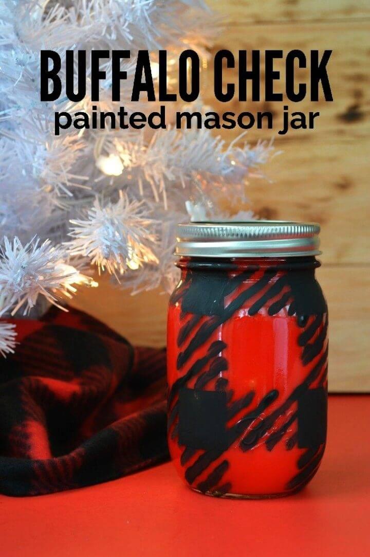 DIY Buffalo Check Painted Mason Jar