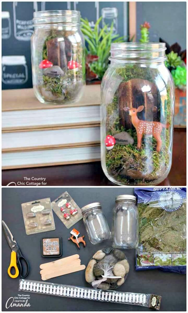 DIY Fairy Garden Mason Jar Terrarium