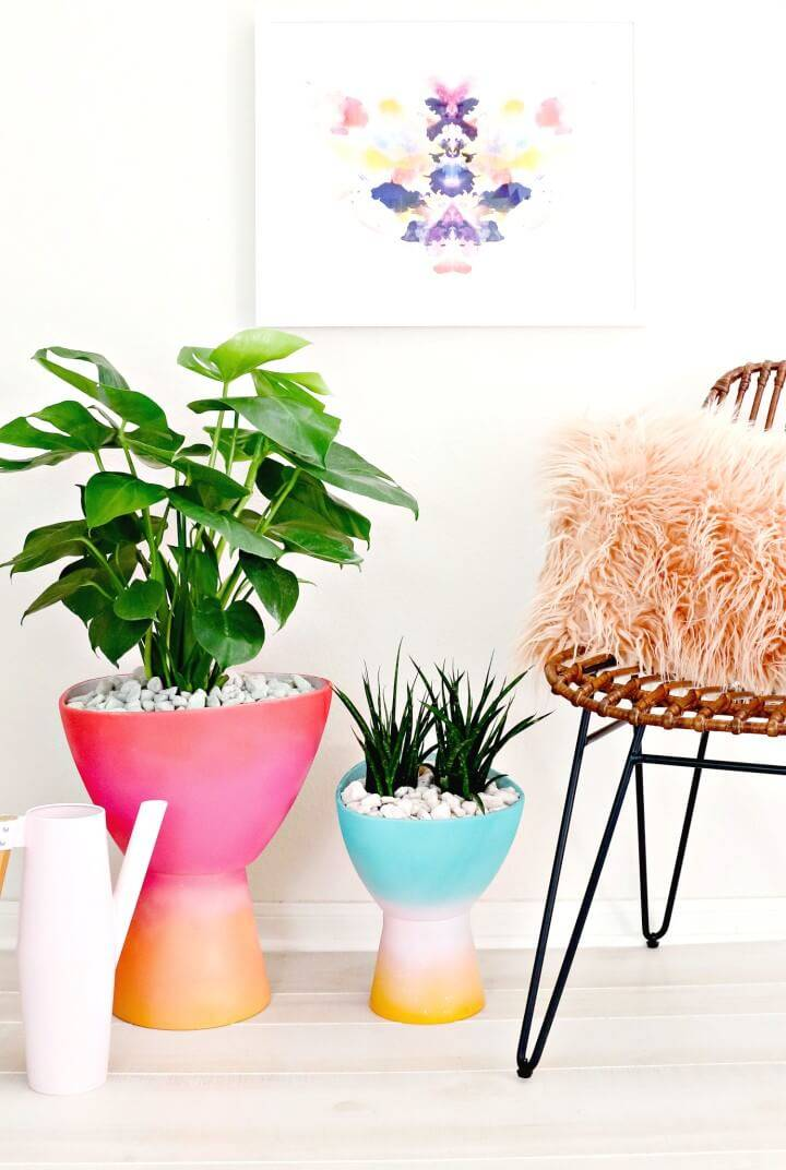 Easy DIY Gradient Planters Tutorial