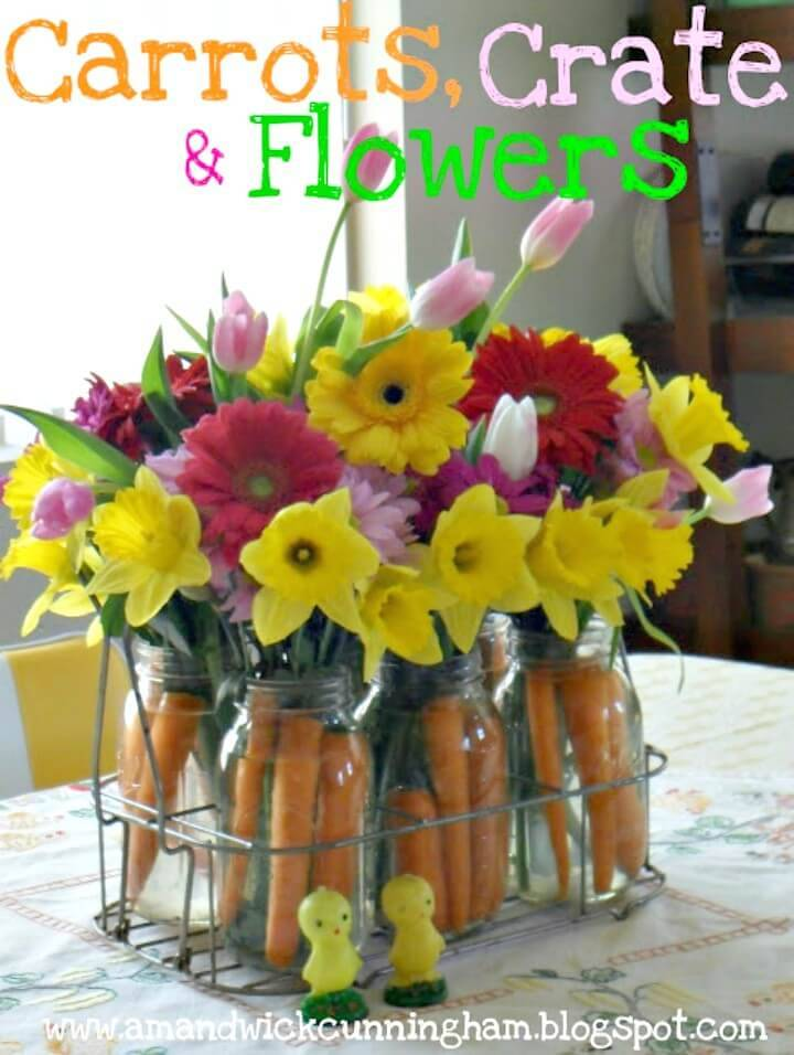 DIY Mason Jar Carrots, Crate & Flowers
