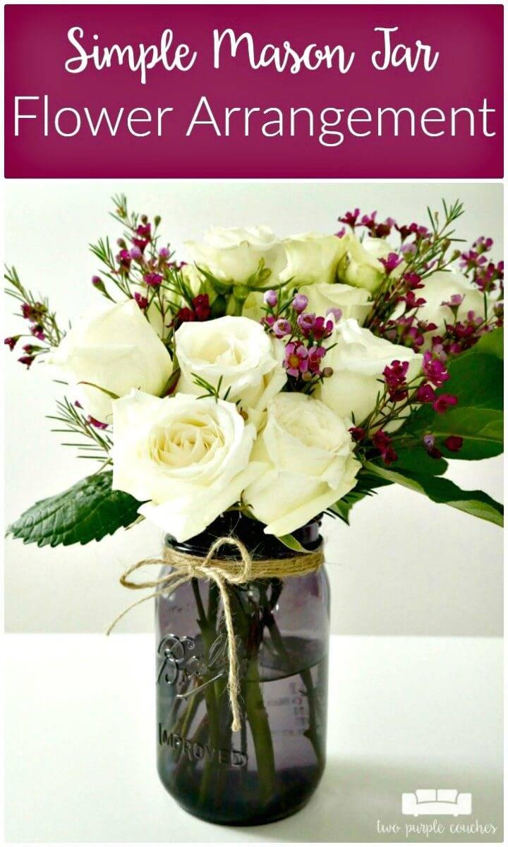 How to DIY Mason Jar Flower Arrangement Gift Idea