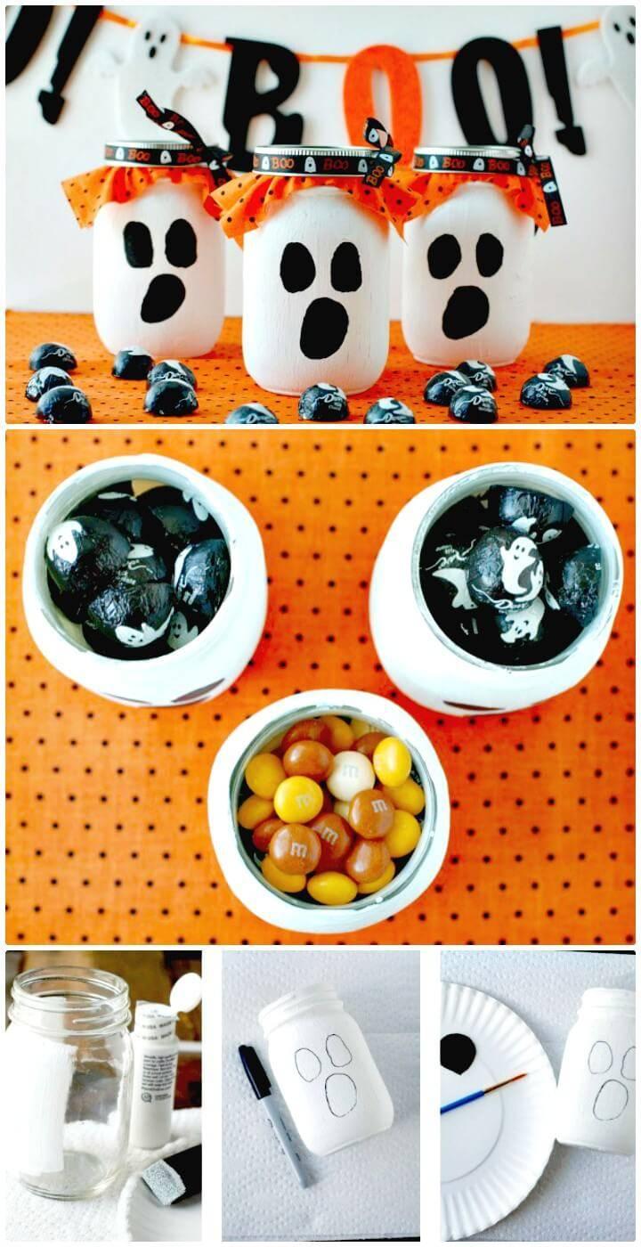 Easy DIY Mason Jar Ghost Candy Gift