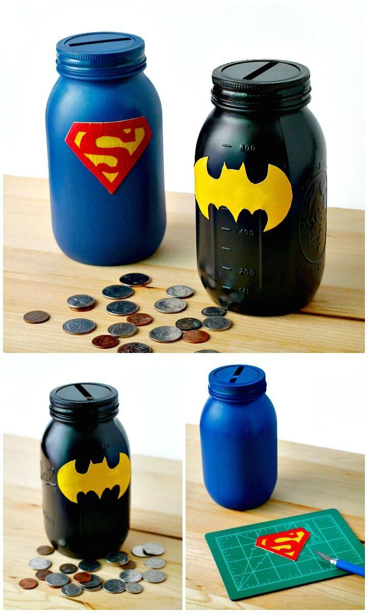 Easy DIY Mason Jar Superhero Banks