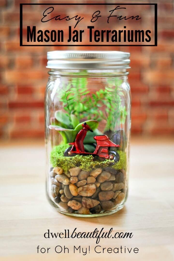 Easy to Make Mason Jar Terrariums - DIY Mason Jars Crafts