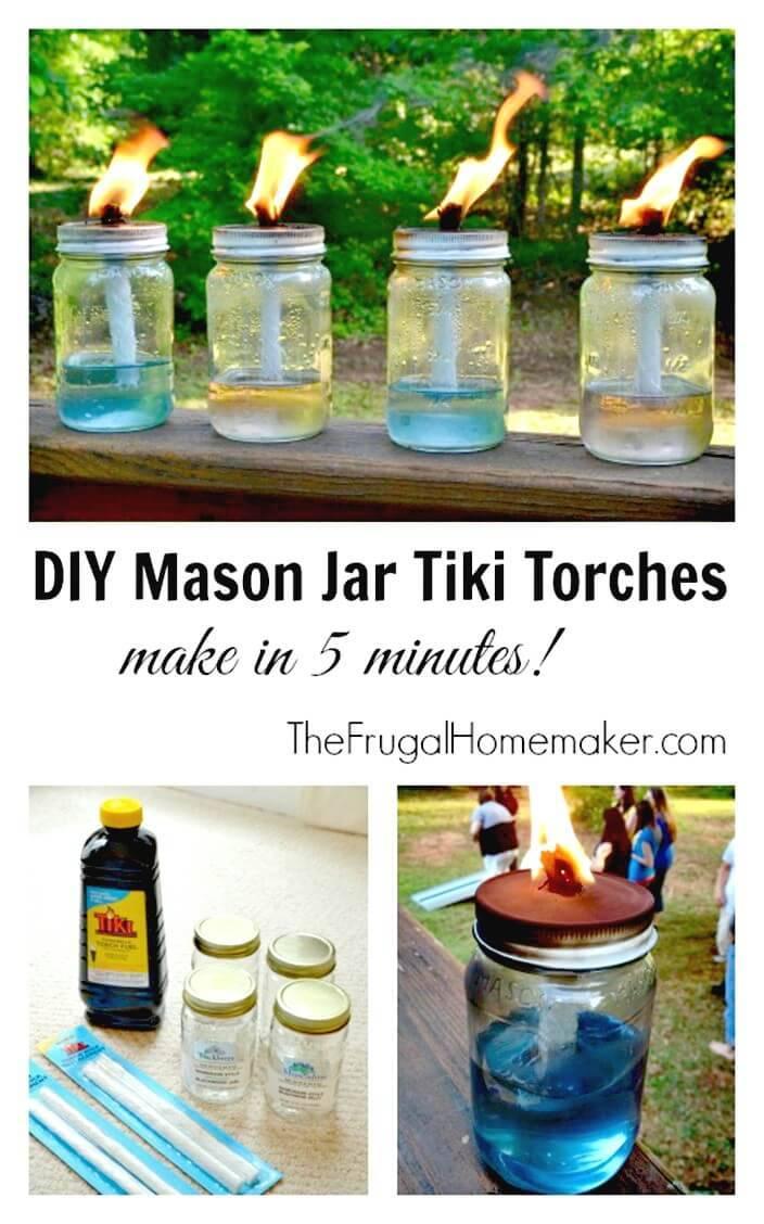Easy DIY Mason Jar Tiki Torches 5 Minute Project - DIY