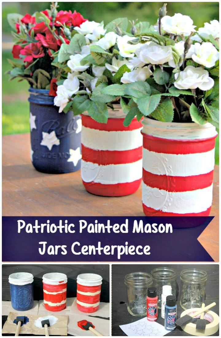 DIY Patriotic Painted Mason Jars Centerpiece for Spring & Summer