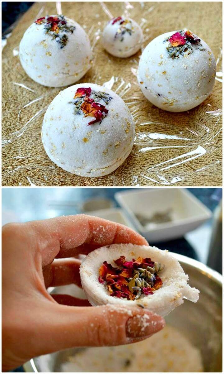 How to DIY Rose, Lavender, & Oatmeal Bath Bombs