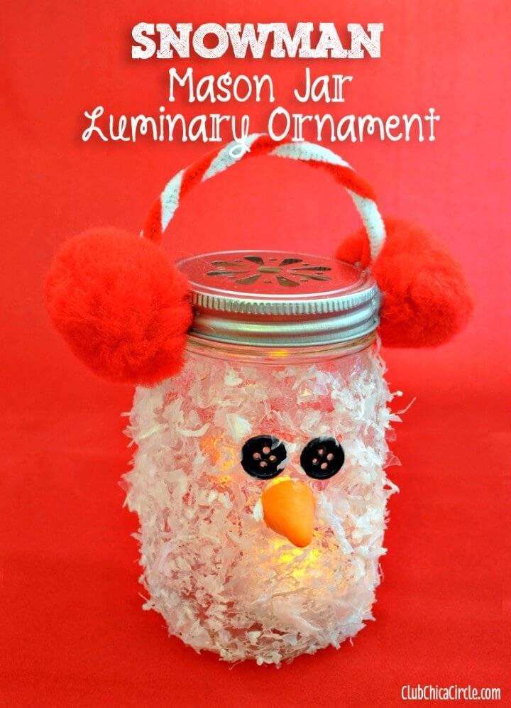 Beautiful DIY Snowman Mason Jar Luminary Ornament