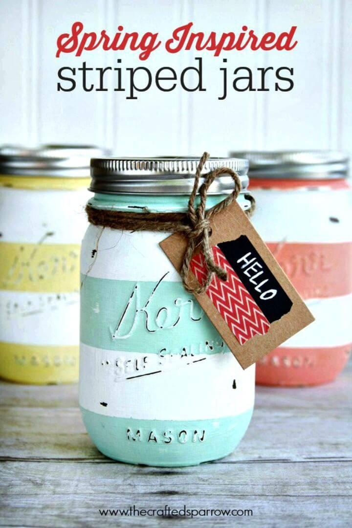 Easy DIY Spring Inspired Striped Jars