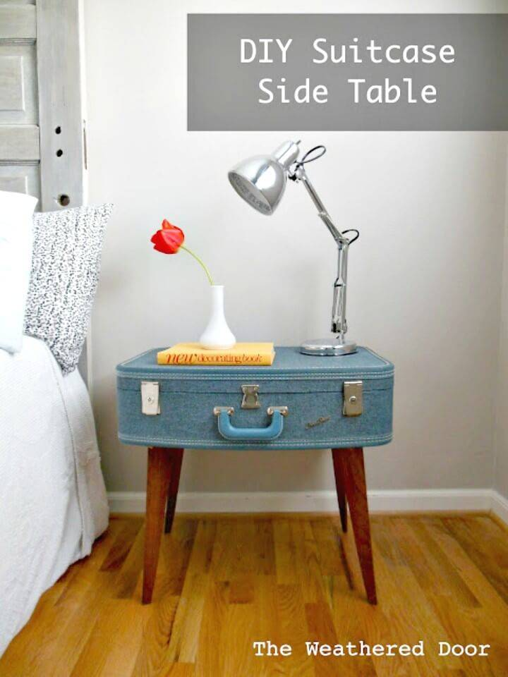 Easy How to DIY Suitcase Side Table For Spring
