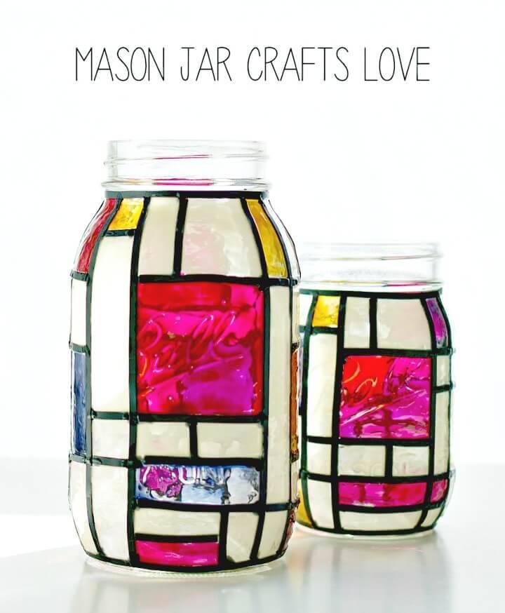 How To Make Mondrian Mason Jars - Beautiful DIY Gift Idea
