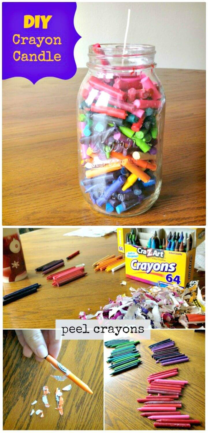 Easy How to Make Crayon Candle - DIY Mason Jars Crafts