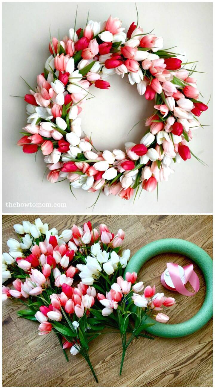Gorgeous How to DIY Tulip Wreath for Spring