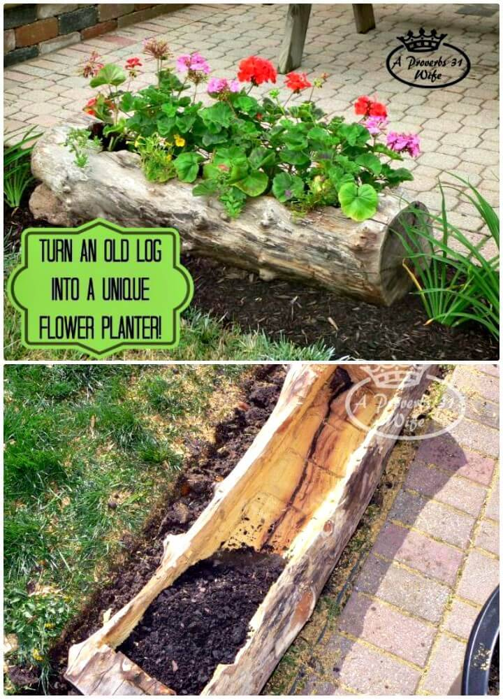 How To Build Garden Log Planter for Flowers - DIY