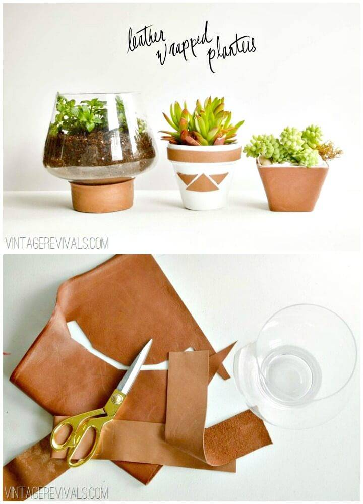 Easy How To Build Leather Wrapped Planters