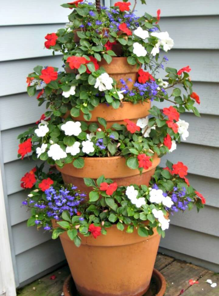 DIY Terracotta Pot Flower Tower with Annuals