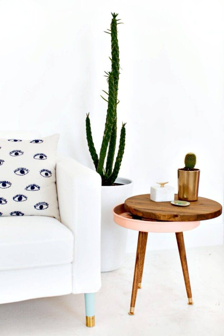 Easy DIY Spring Mid Century Side Table