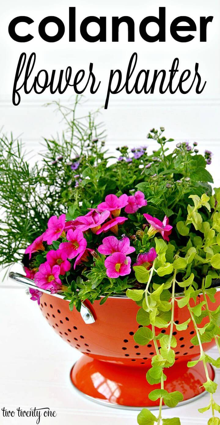 Easy DIY Colander Flower Planter