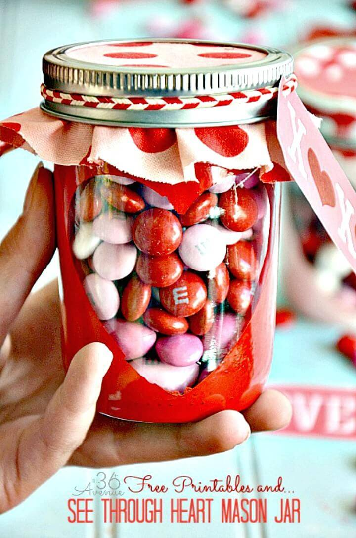 DIY Free Valentine Printable And Heart Candy Jar