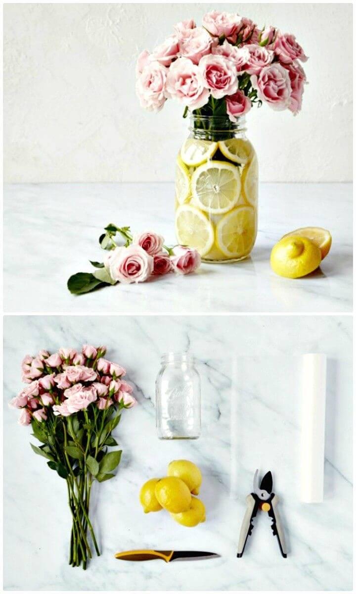 How To DIY Mason Jar, Lemon, & Flower Centerpiece