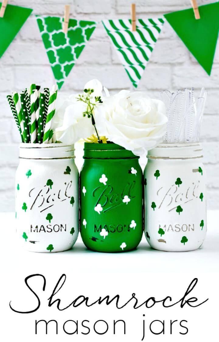 How To DIY Painted Shamrock Mason Jars
