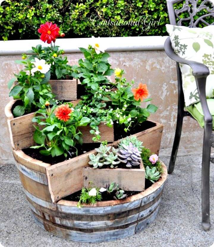 DIY Recycled Wine Barrel Planter