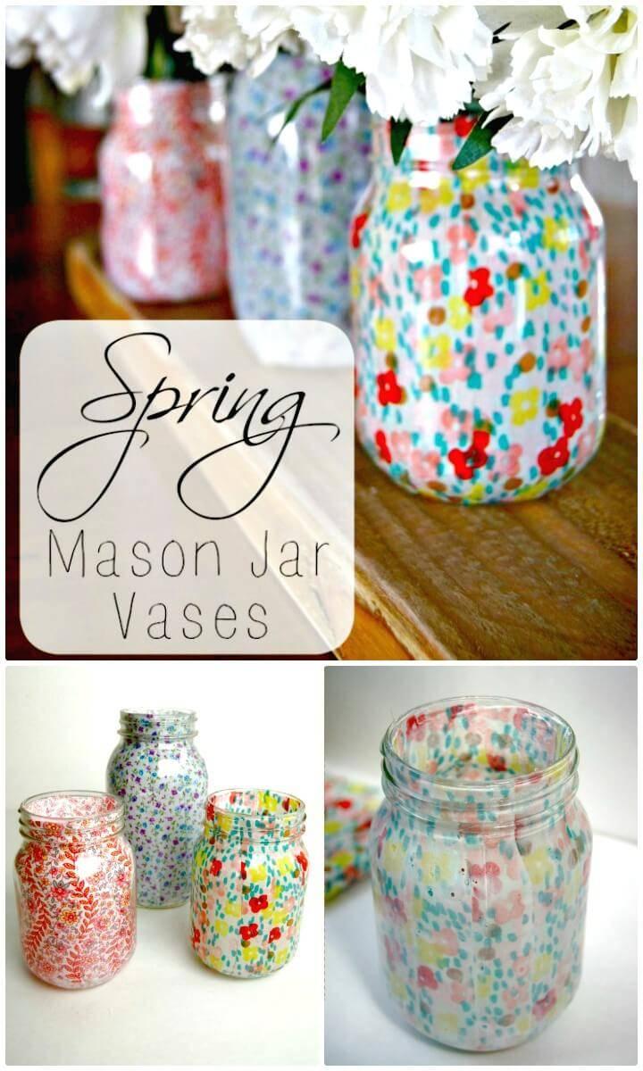 How To DIY Spring Mason Jar Vases