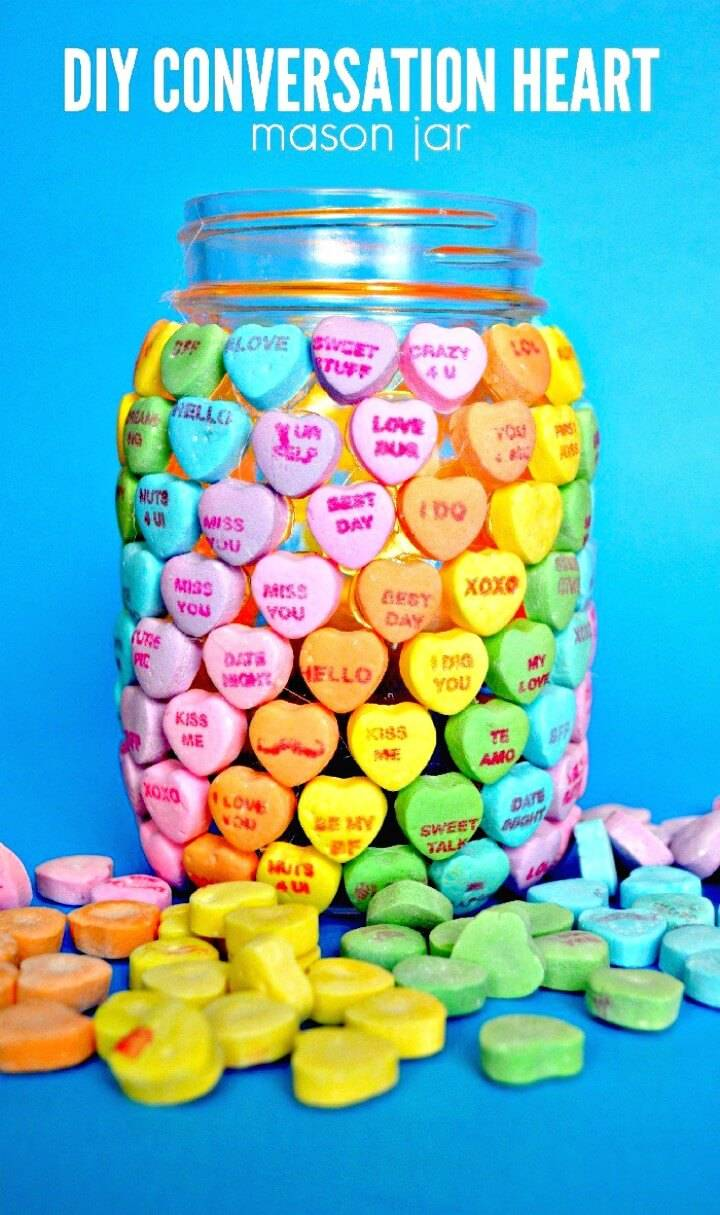 How To Make Candy Heart Mason Jar For Valentine's Day - DIY