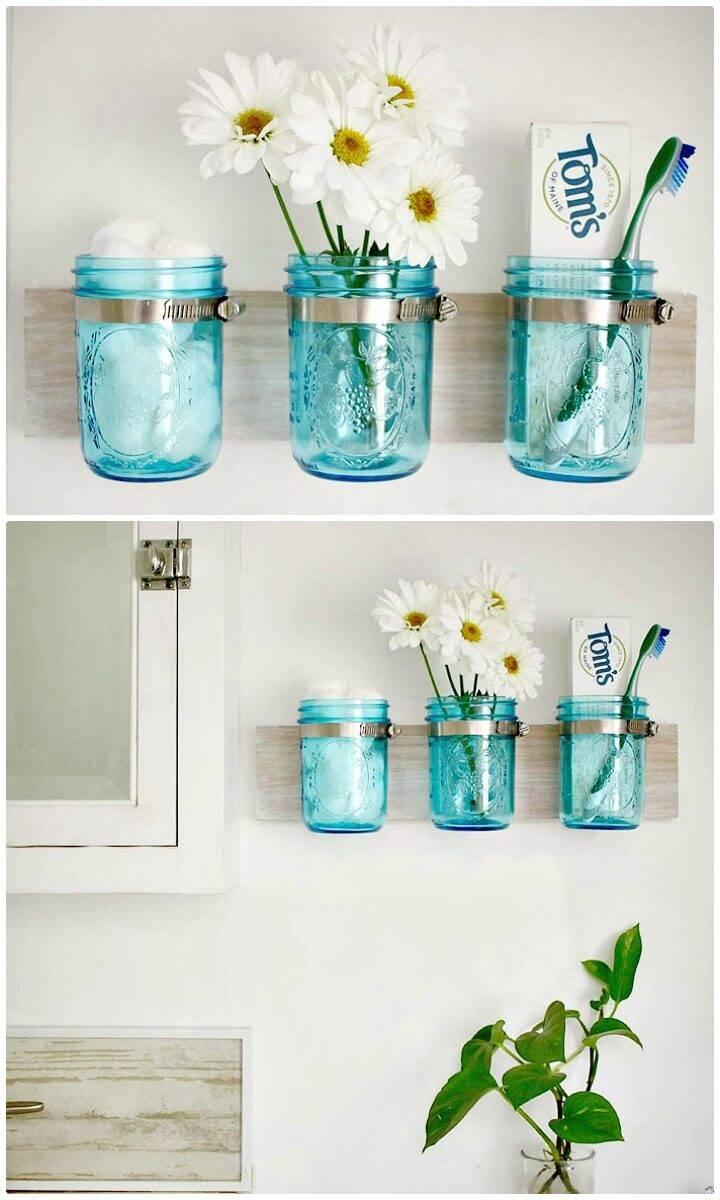 How To Make Coastal Mason Jar Organizer - DIY Mason Jars Crafts