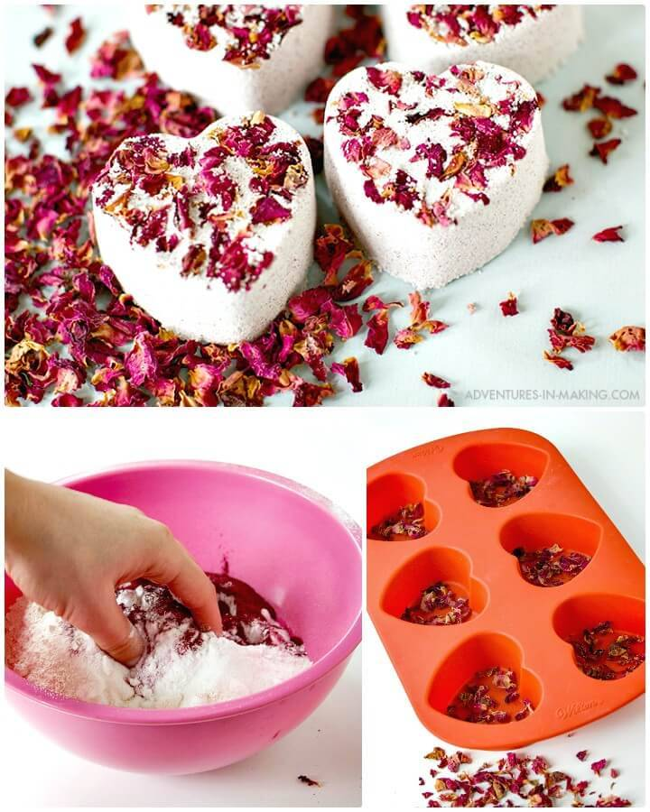 Adorable DIY Heart Bath Bombs For Valentine's Day