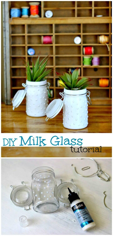 Adorable How To Make Milk Glass Jars - DIY