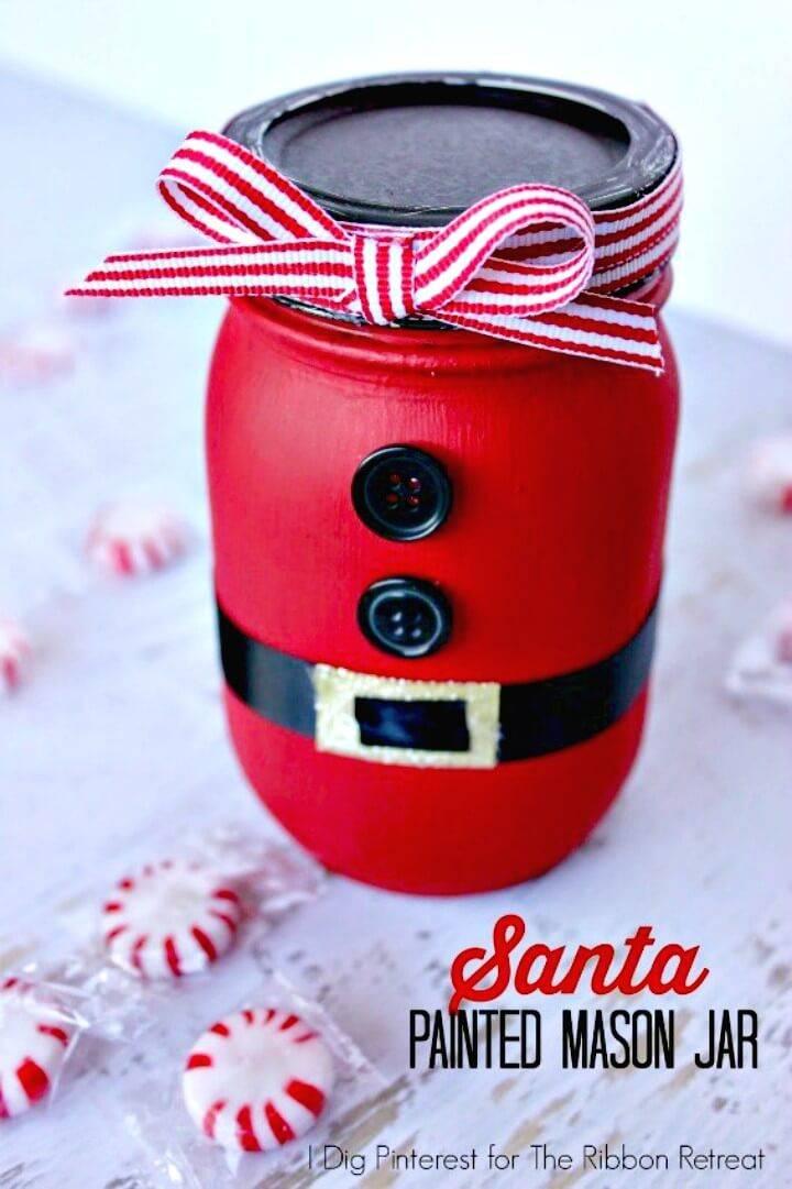 How To Make Santa Painted Mason Jar - DIY