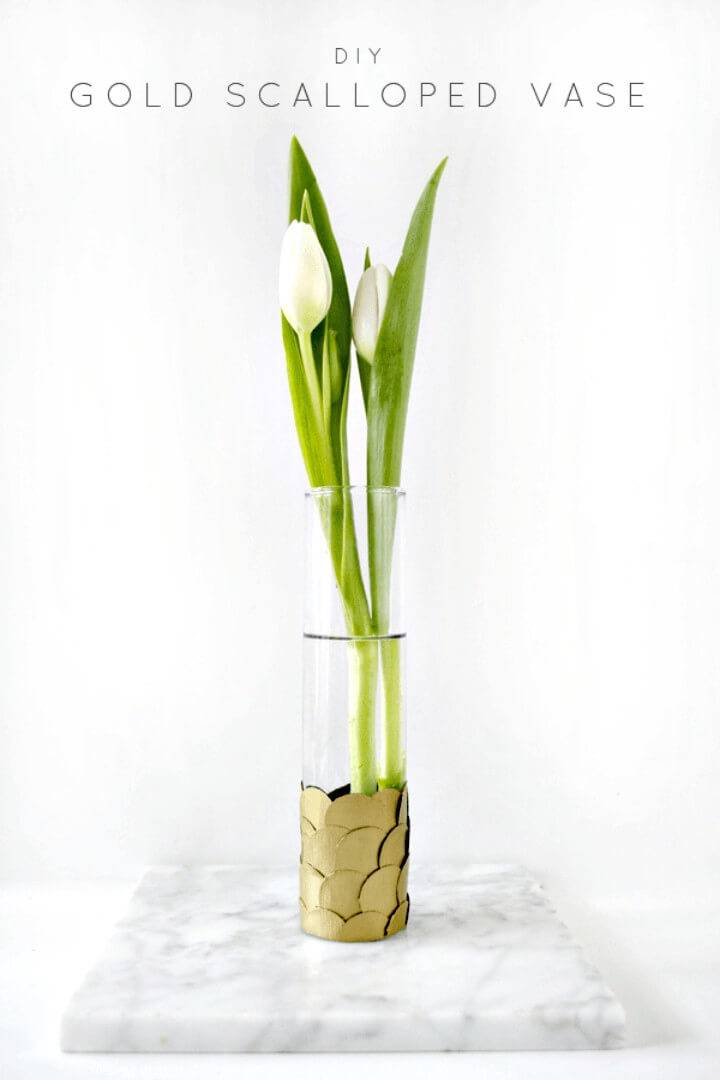 Easy How To Make Spring Gold Scalloped Vase