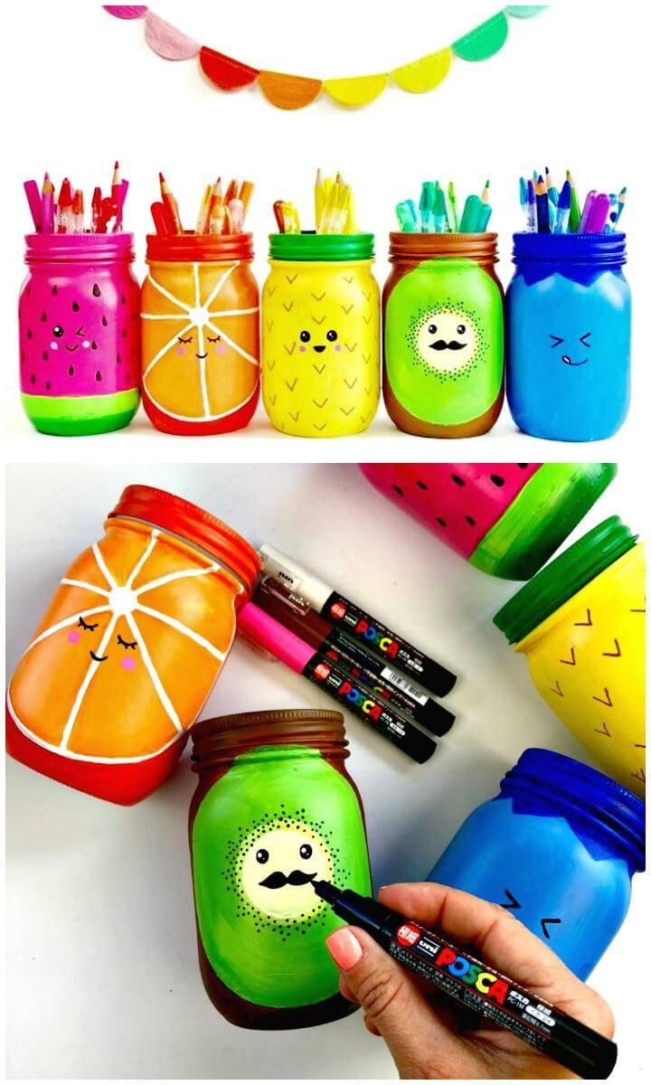 How to Make Rainbow Fruit Mason Jar Craft - DIY