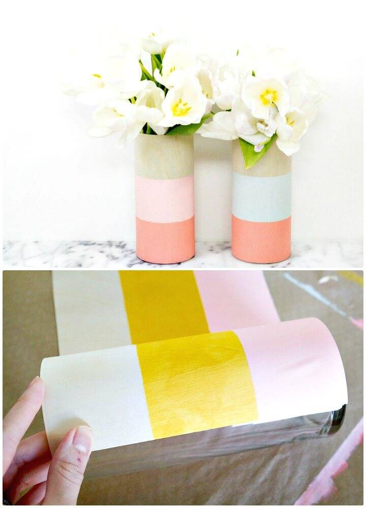 Easy DIY Color Blocked Wood Vases