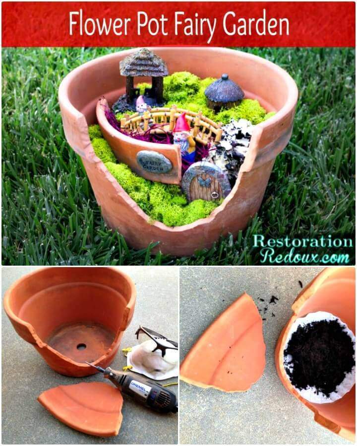Make Your Own Flower Pot Fairy Garden - DIY