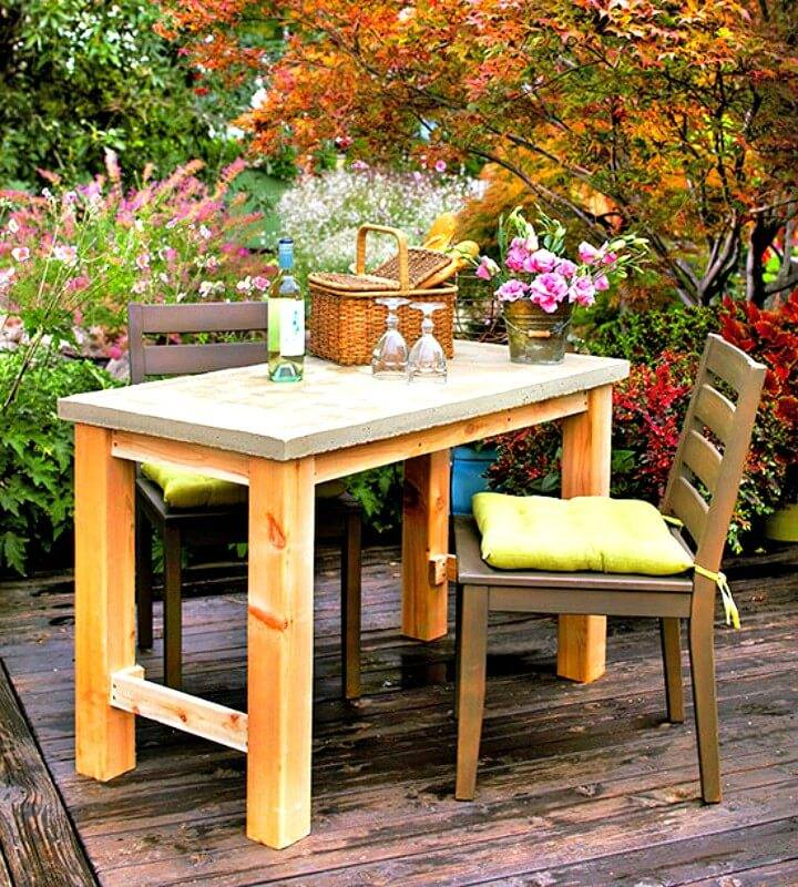 Make Your Own Garden Concrete Table - DIY