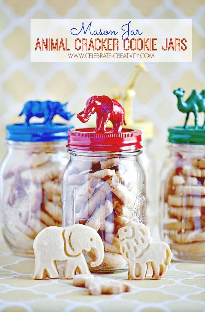 Make Your Own Mason Jar Animal Cracker Cookie Jar - DIY